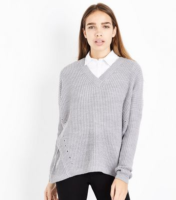 Blue Vanilla Grey Cross Back Detail Jumper New Look