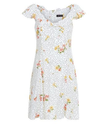 White Floral Spot Print Frill Bardot Neck Skater Dress New Look