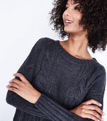 Blue Vanilla Dark Grey Cable Knit Jumper Dress New Look