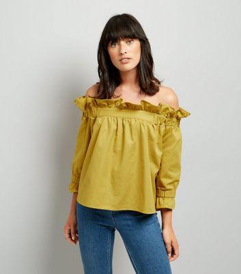 Blue Vanilla Yellow Frill Trim Bardot Neck Top New Look
