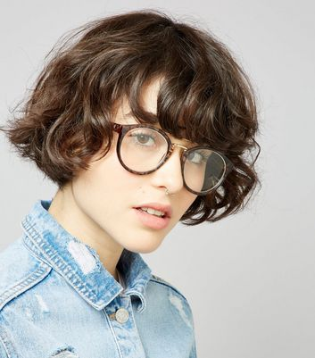 Brown T Bar Clear Glasses New Look