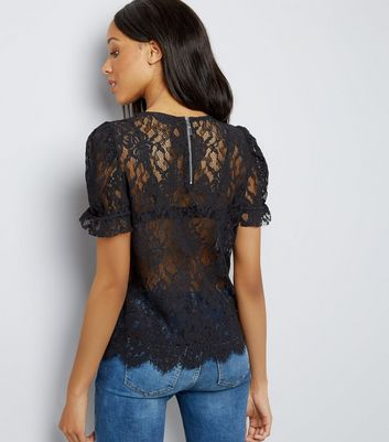 Black Lace Scallop Hem Puff Sleeve Top New Look