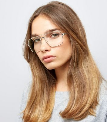 Silver T Bar Clear Lens Glasses New Look
