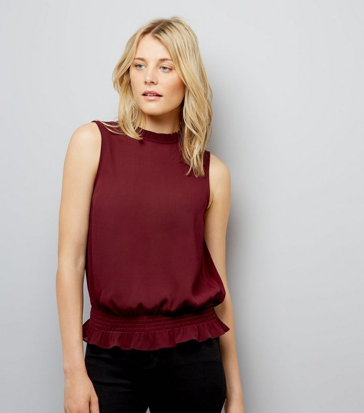 a1d562f34e4f82 Burgundy Shirred Waist Blouse | New Look