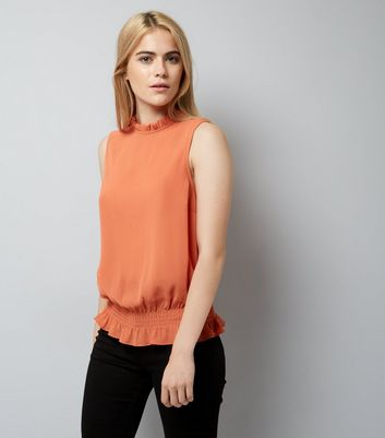 Coral Shirred Hem Top New Look