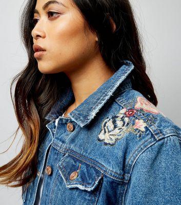 Petite Blue Floral Tapestry Back Denim Jacket New Look