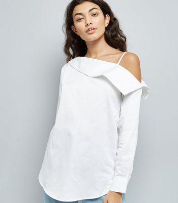 White Off The Shoulder Shirt New Look