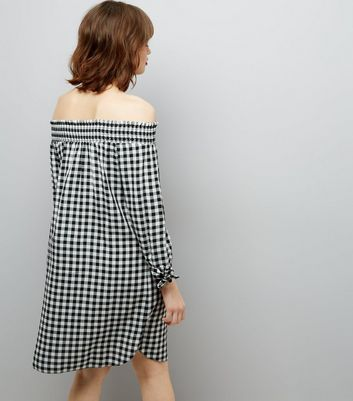 Black Gingham Check Shirred Bardot Neck Dress New Look