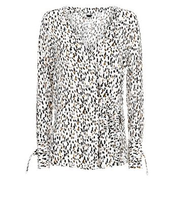 White Animal Print Tie Side Shirt New Look