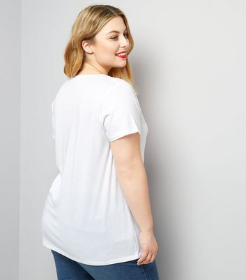 Curves White Scoop Neck T-Shirt New Look