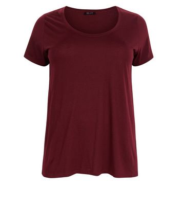 Curves Burgundy Scoop Neck T-Shirt New Look