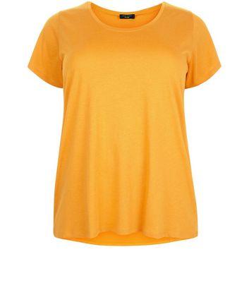 Curves Orange Scoop Neck T-Shirt New Look