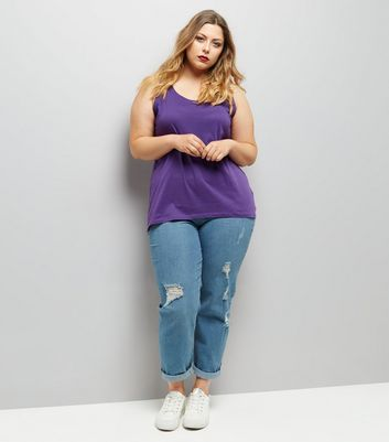Curves Purple Scoop Neck Vest New Look