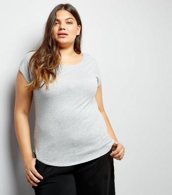 Curves Light Grey Short Sleeve T-Shirt New Look