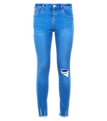 Teens Blue Ripped Skinny Jeans New Look