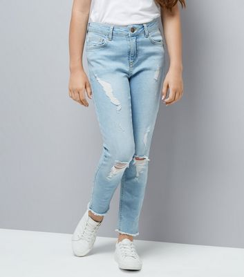 Teens Blue Extreme Ripped Jeans New Look