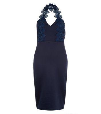 AX Paris Navy Lace Choker Neck Dress New Look