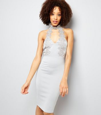 AX Paris Silver Lace Choker Neck Dress New Look