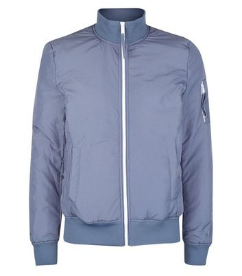 Pale Blue Funnel Neck Jacket New Look