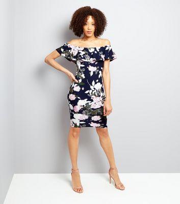 AX Paris Blue Floral Print Bardot Neck Dress New Look