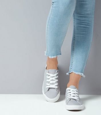 Grey Lace up Trainers New Look