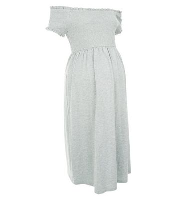 Maternity Grey Shirred Bardot Neck Dress New Look