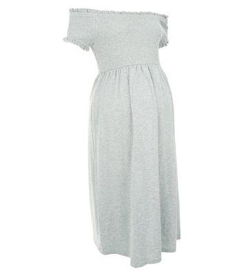 Maternity Grey Shirred Bardot Neck Dress New Look
