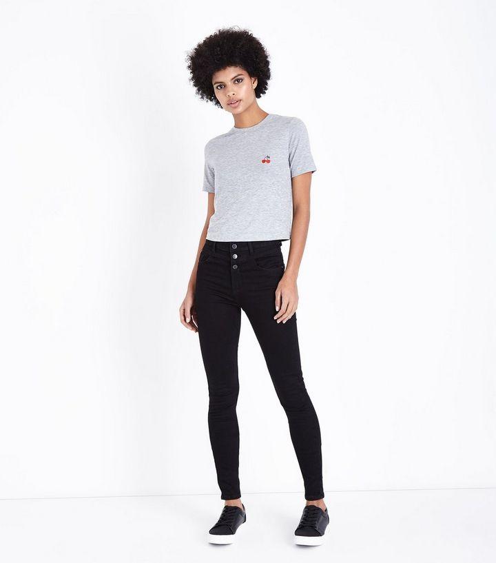 0551214641a2 Tall - Jean skinny noir à taille haute à 3 boutons à l avant