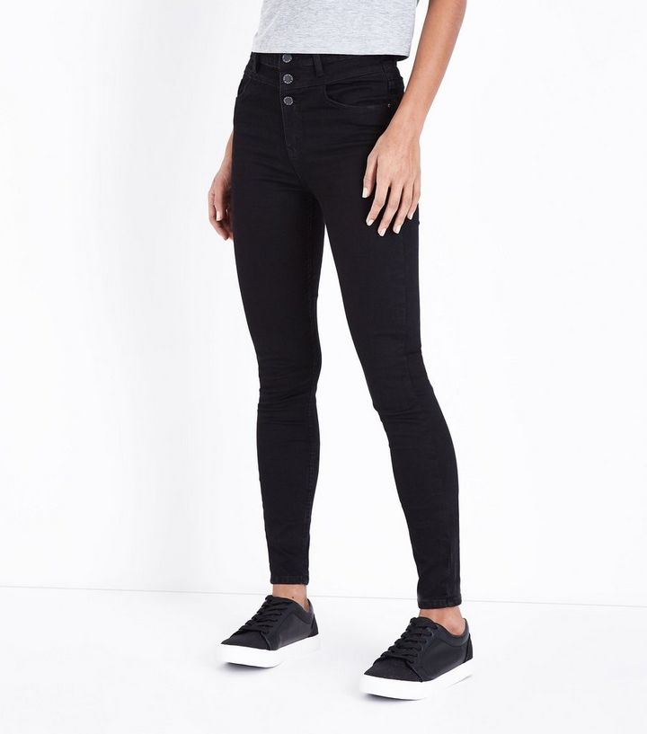 a517027423f ... Tall Black 3 Button High Waist Skinny Jeans. ×. ×. ×. Shop the look