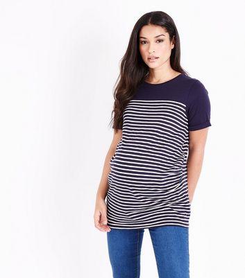 Maternity Navy Stripe Longline T-Shirt New Look