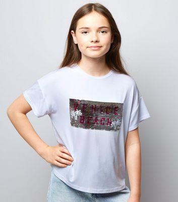 Teens White Venice Beach 2 Way Sequin T-Shirt New Look