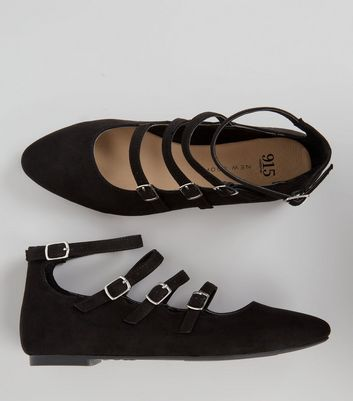 Teens Black Suedette Multi Buckle School Pumps New Look