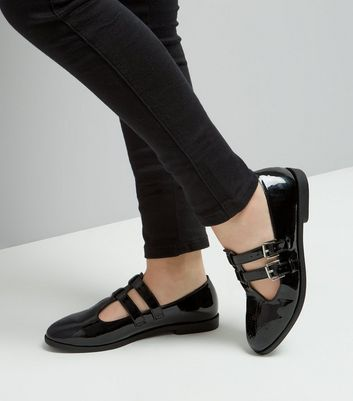 Teens Black Patent Double Strap School Shoes New Look
