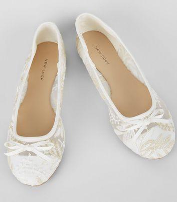 White Lace Leaf Ballet Pumps | New Look