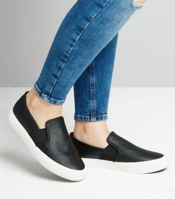 Teens Black Textured Slip On Trainers New Look
