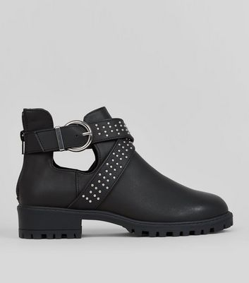 Girls Black Cut Out Boots