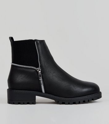 Teens Black Zip Trim Boots New Look