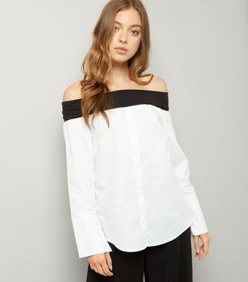 White Jersey Fold Poplin Bardot Shirt New Look