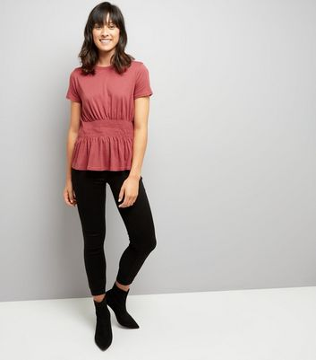 Red Shirred Waist T-Shirt New Look