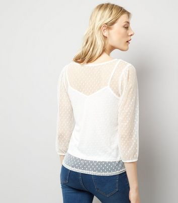Cream Spot Mesh Gathered Sleeve Top New Look