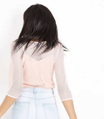 Pink Spot Mesh Gathered Sleeve Top New Look