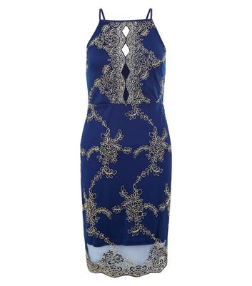 AX Paris Navy Embroidered Strappy Dress New Look
