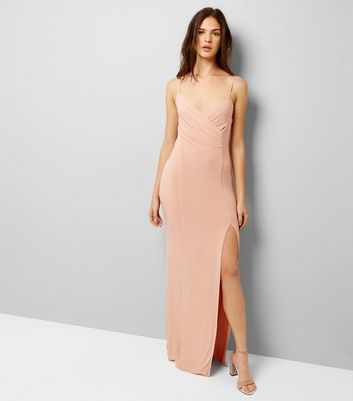 AX Paris Shell Pink V Neck Split Side Dress New Look