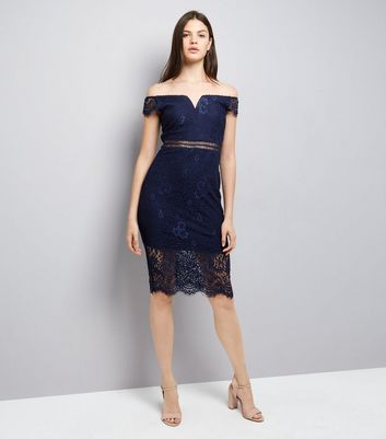 AX Paris Navy Lace Bardot Neck Midi Dress New Look