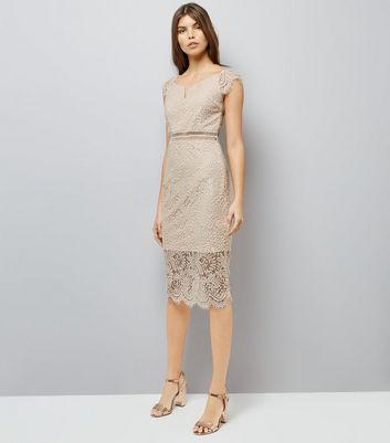 AX Paris Pink Lace Bardot Neck Midi Dress New Look