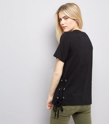 Black Lace Up Side T-Shirt New Look
