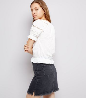 White Lace Trim Cotton Shirt New Look