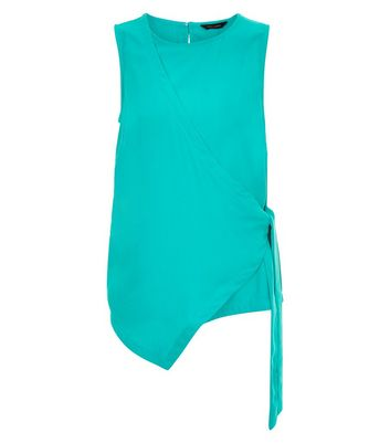 Bright Green Wrap Front Sleeveless Top New Look