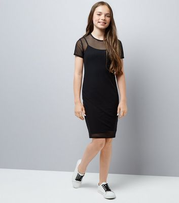 Teens Black Mesh Bodycon Dress New Look