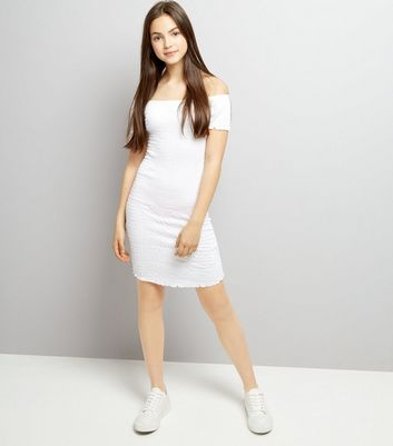 Teens White Shirred Bardot Neck Dress New Look